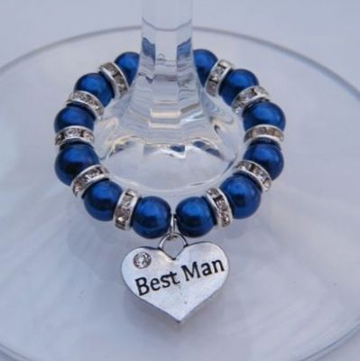 Best Man Wine Glass Charm - Full Sparkle Style